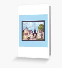 Paris Eiffel Tower inspired impressionist landscape by Kristie Hubler Greeting Card