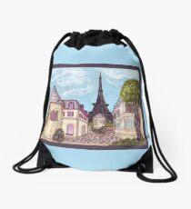 Paris Eiffel Tower inspired impressionist landscape by Kristie Hubler Drawstring Bag
