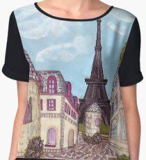 Paris Eiffel Tower inspired impressionist landscape by Kristie Hubler Chiffon Top