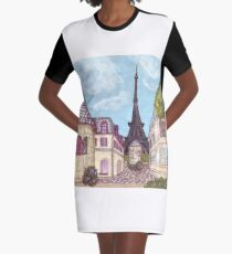 Paris Eiffel Tower inspired impressionist landscape by Kristie Hubler Graphic T-Shirt Dress