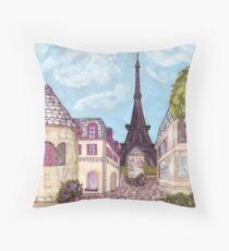 Paris Eiffel Tower inspired impressionist landscape by Kristie Hubler Throw Pillow