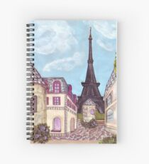 Paris Eiffel Tower inspired impressionist landscape by Kristie Hubler Spiral Notebook