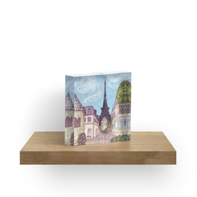 Paris Eiffel Tower inspired impressionist landscape by Kristie Hubler by kristiehubler