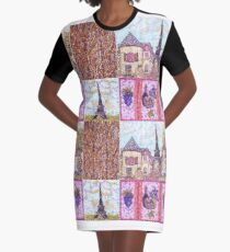 Paris Inspired Pointillism Grapes Wine Wood by Kristie Hubler Graphic T-Shirt Dress