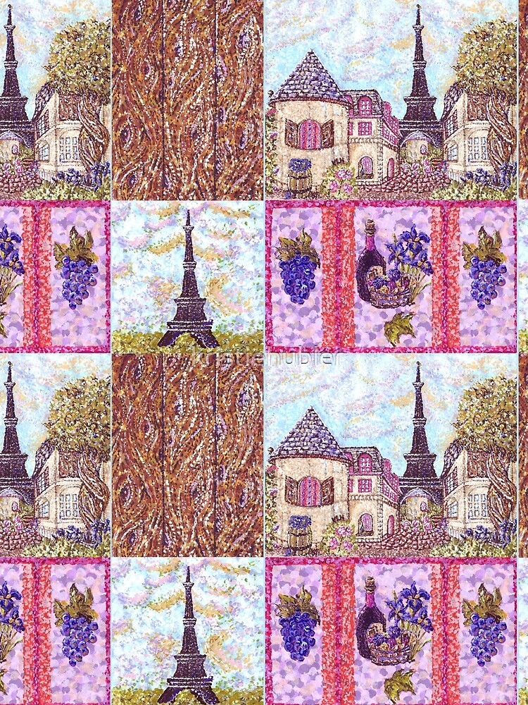 Paris Inspired Pointillism Grapes Wine Wood by Kristie Hubler by kristiehubler