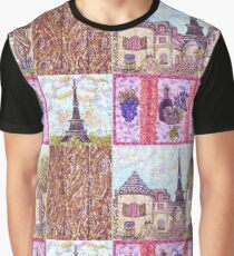 Paris Inspired Pointillism Grapes Wine Wood by Kristie Hubler Graphic T-Shirt