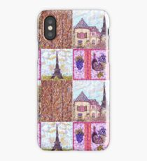 Paris Inspired Pointillism Grapes Wine Wood by Kristie Hubler iPhone Case