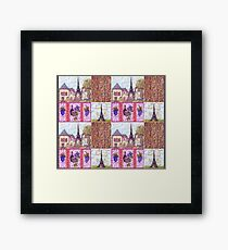 Paris Inspired Pointillism Grapes Wine Wood by Kristie Hubler Framed Print