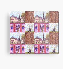 Paris Inspired Pointillism Grapes Wine Wood by Kristie Hubler Metal Print