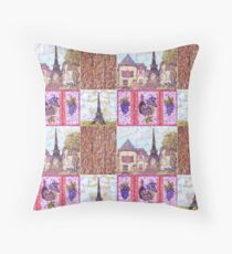 Paris Inspired Pointillism Grapes Wine Wood by Kristie Hubler Floor Pillow