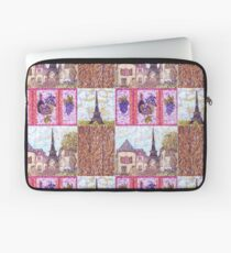 Paris Inspired Pointillism Grapes Wine Wood by Kristie Hubler Laptop Sleeve