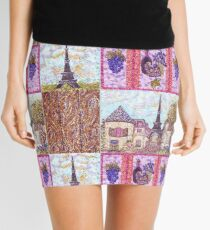 Paris Inspired Pointillism Grapes Wine Wood by Kristie Hubler Mini Skirt