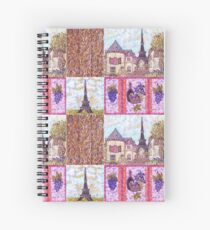 Paris Inspired Pointillism Grapes Wine Wood by Kristie Hubler Spiral Notebook