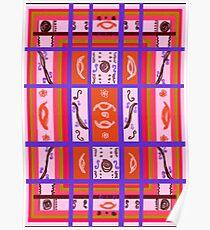 Curvy Plaid Abstract Feminine Folk Art by Kristie Hubler Poster