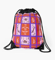 Curvy Plaid Abstract Feminine Folk Art by Kristie Hubler Drawstring Bag