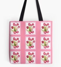 9 bunches of Pink Tulip Flowers by Kristie Hubler Tote Bag