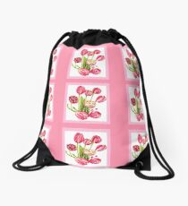 9 bunches of Pink Tulip Flowers by Kristie Hubler Drawstring Bag