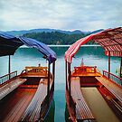 Boats in Lake Bled  Slovenia by TalBright