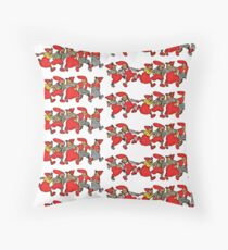 Gnomes Elves Nisse Line Dance Throw Pillow