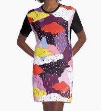 Purple Winter Graphic T-Shirt Dress