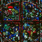 Stained Glass Window Roundel, St Pierre Cathedral Poitiers France 19840824 0015 by Fred Mitchell