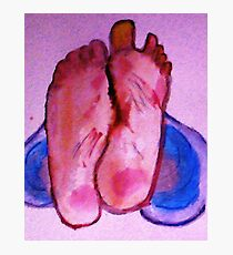 Bare feet in jeans Photographic Print
