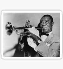 Louis Armstrong Blowing Trumpet Sticker