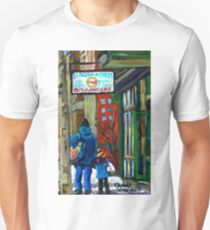 MONTREAL BAGEL SHOPS CANADIAN ART WINTER CITY SCENE T-Shirt