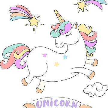 Pink Cute Colorful Rainbow  Magical Unicorn by cutecutedesigns
