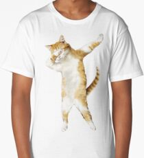 Dabbing Cat Kitten Funny Dab Tee Cool Dance Kitty  Long T-Shirt