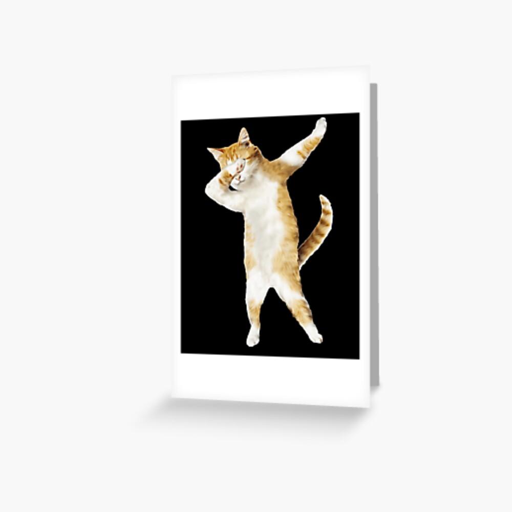 Tupfendes Katzen-Kätzchen-lustiges Tupfen-T-Stück Coole Tanz-Miezekatze Grußkarte