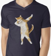 Dabbing Cat Kitten Funny Dab Tee Cool Dance Kitty  Men's V-Neck T-Shirt