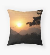 Sunset Vang Vieng Throw Pillow