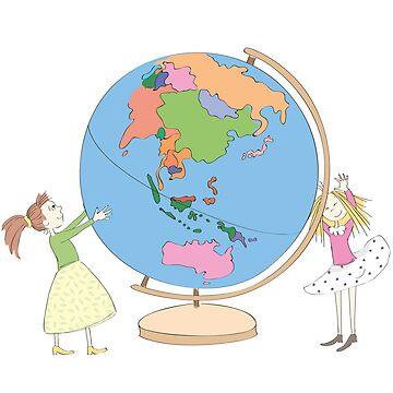 Cute Girls Kids Around World Globe by cutecutedesigns