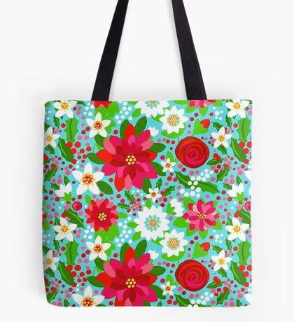 Christmas flowers,  pink Poinsettia, red rose, white lily & holly Tote Bag