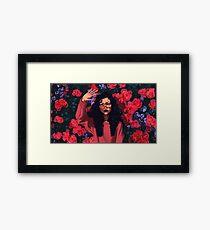 Red Flowers Girl Framed Print