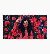 Red Flowers Girl Photographic Print