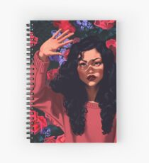 Red Flowers Girl Spiral Notebook