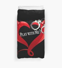 Devil Heart and Handcuffs - White Text, Black background. Duvet Cover