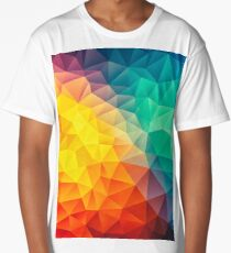 Abstract Multi Color Cubizm Painting Long T-Shirt