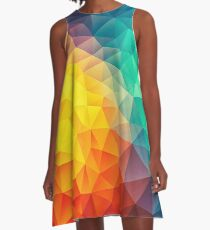 Abstract Multi Color Cubizm Painting A-Line Dress