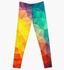 Abstract Multi Color Cubizm Painting Leggings