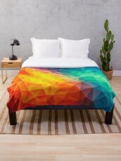 Abstract Multi Color Cubizm Painting Throw Blanket