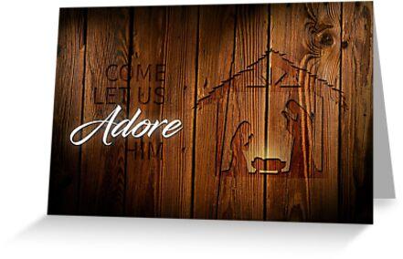 501e19f6246 Tarjetas de felicitación «Natividad en madera» de Sam B