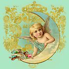 Luna Angel, vintage moon, bird, angel in gold aqua and mint green by Glimmersmith