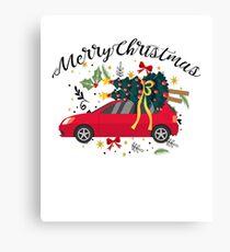 truck with Christmas tree Fun Christmas Merry Christmas Canvas Print