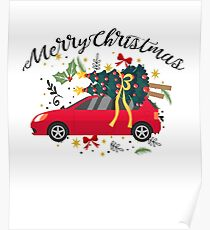 truck with Christmas tree Fun Christmas Merry Christmas Poster