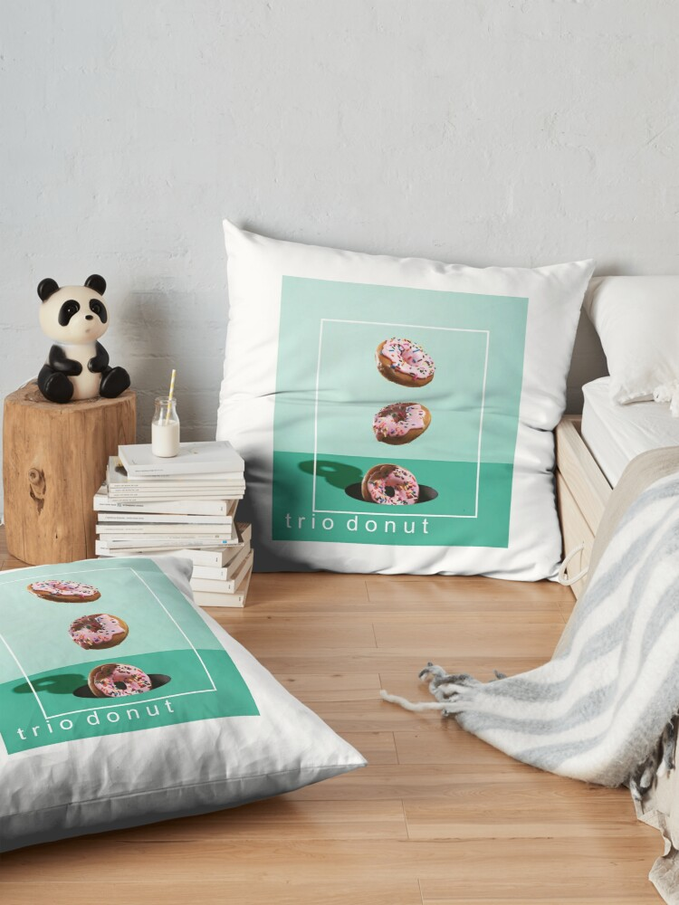 Alternate view of trio donut clock and tshirt Floor Pillow