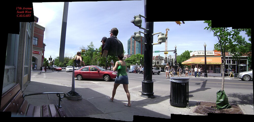 Stitched photo (Calgary 17th avenue s.w.) by JAMES ANDREW BANNERMAN