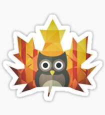 Polygon Owl Leaf Sticker